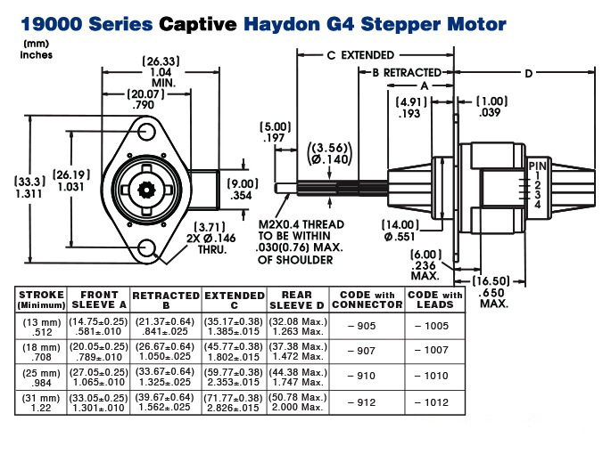 19000 Captive Stepper Motor Drawing