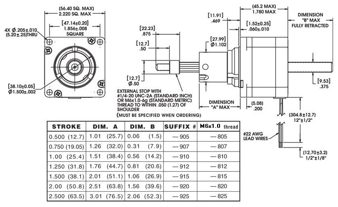 Size 23 Series 57000 Captive Linear Actuator Dimensional Drawing