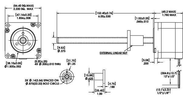 Size 23 Series 57000 External Linear Actuator Dimensional Drawing