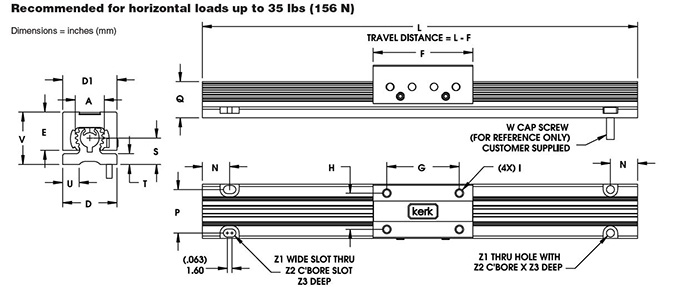 RGS06 Non-Motorized Rail Dimensional Drawing