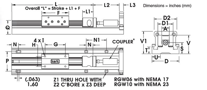 RGW06 Non-Motorized Rail with NEMA 17 Dimensional Drawing