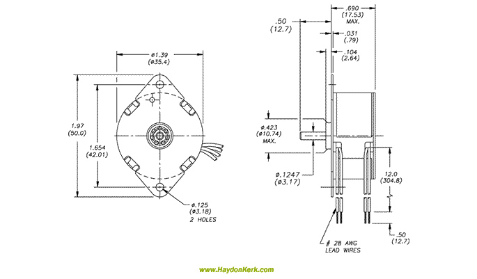 36mm Can-Stack Rotary Ball Bearing Motor Dimensional Drawing