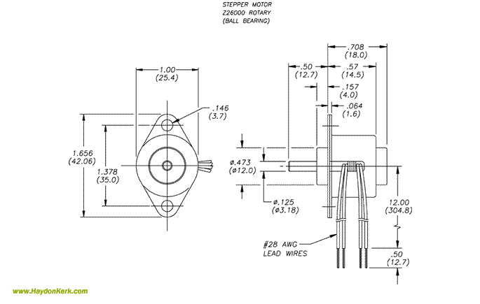 26mmZ26000 Can-Stack Rotary Ball Bearing Motor Dimensional Drawing