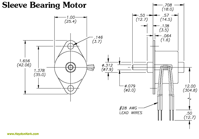26mmZ26000 Can-Stack Rotary Sleeve Bearing Motor Dimensional Drawing